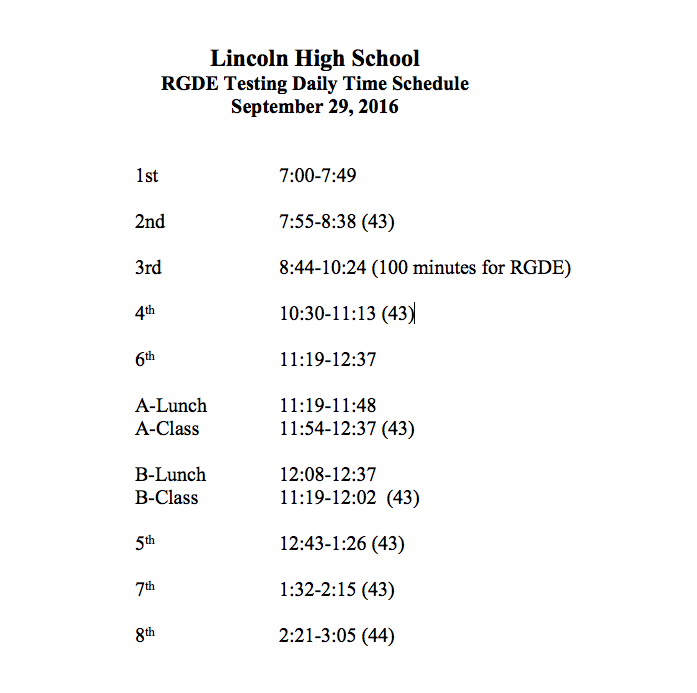 Thursday Reading Test Altered Schedule