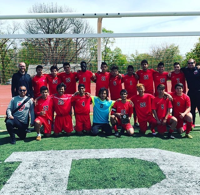 The Varsity Team poses for a photo after their two wins on April 22nd, 2017.  Photo provided by Alex Cerny