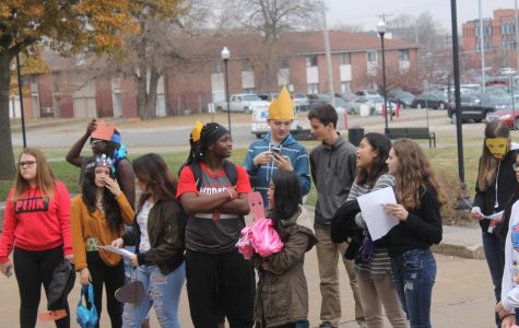 Students in Emily Martinez' 5th periodEnglish 10 class perform original skits from Oedipus Rex at various locations around the school building on Friday, Nov. 17, 2017. Photo by Sara Balter.