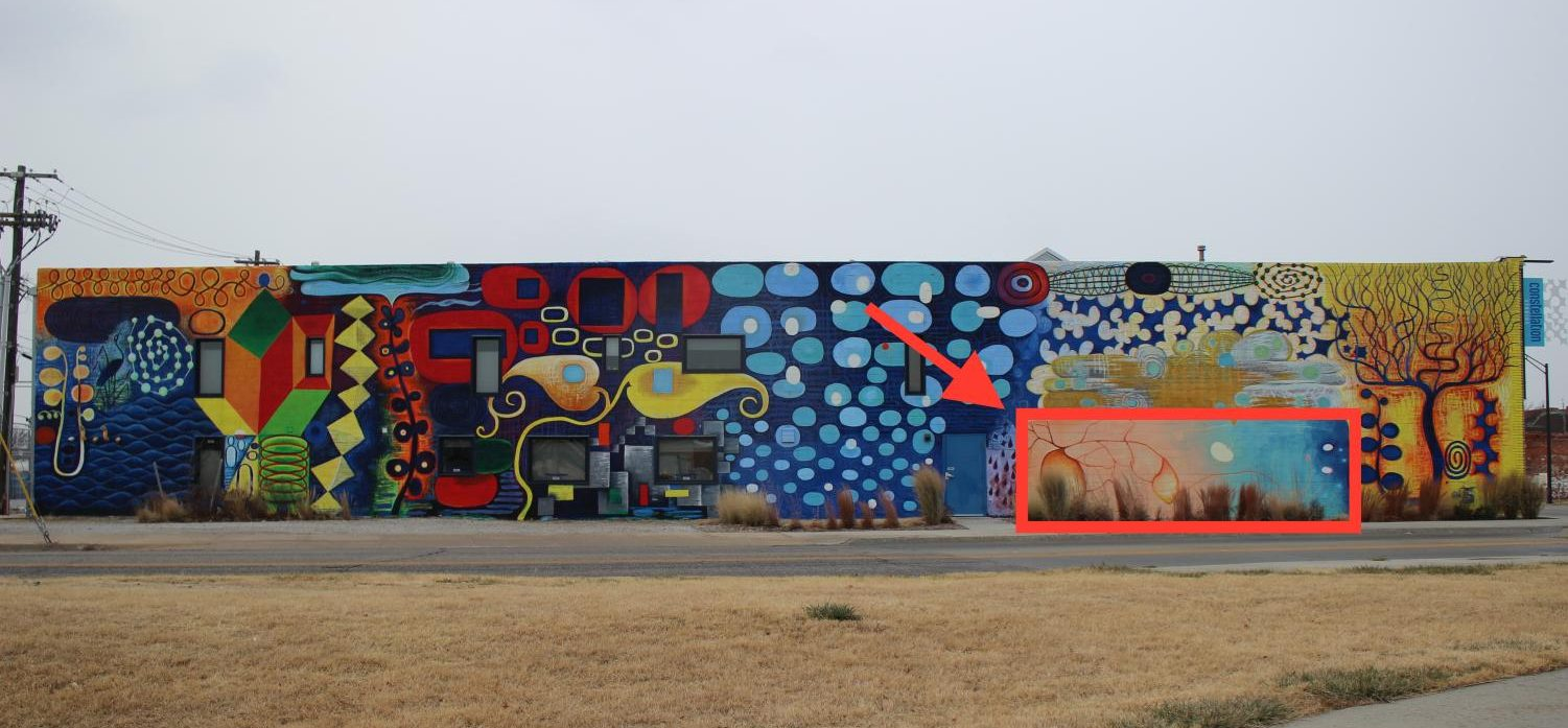 Constellation Studios showcases local artists and groups on their mural at  S 21st and O Street. Art teacher Michelle Clifford's second semester Painting 2 class will soon display their original work there. The red box above shows where their work will go. Photo by Grace Miller