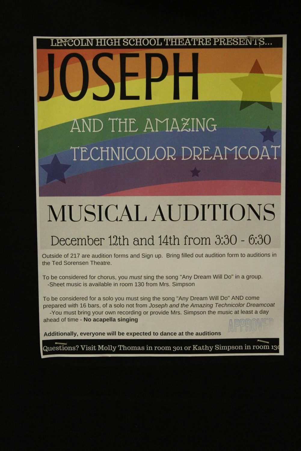 A poster of the information for the auditions for the Lincoln High Musical of