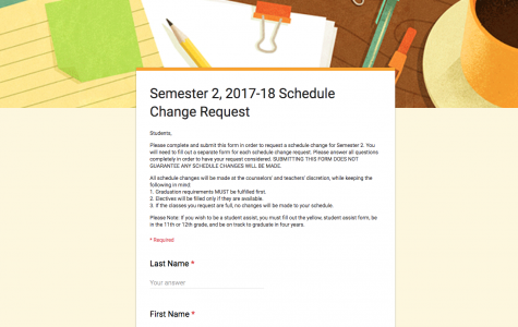 New procedure for semester two schedule changes