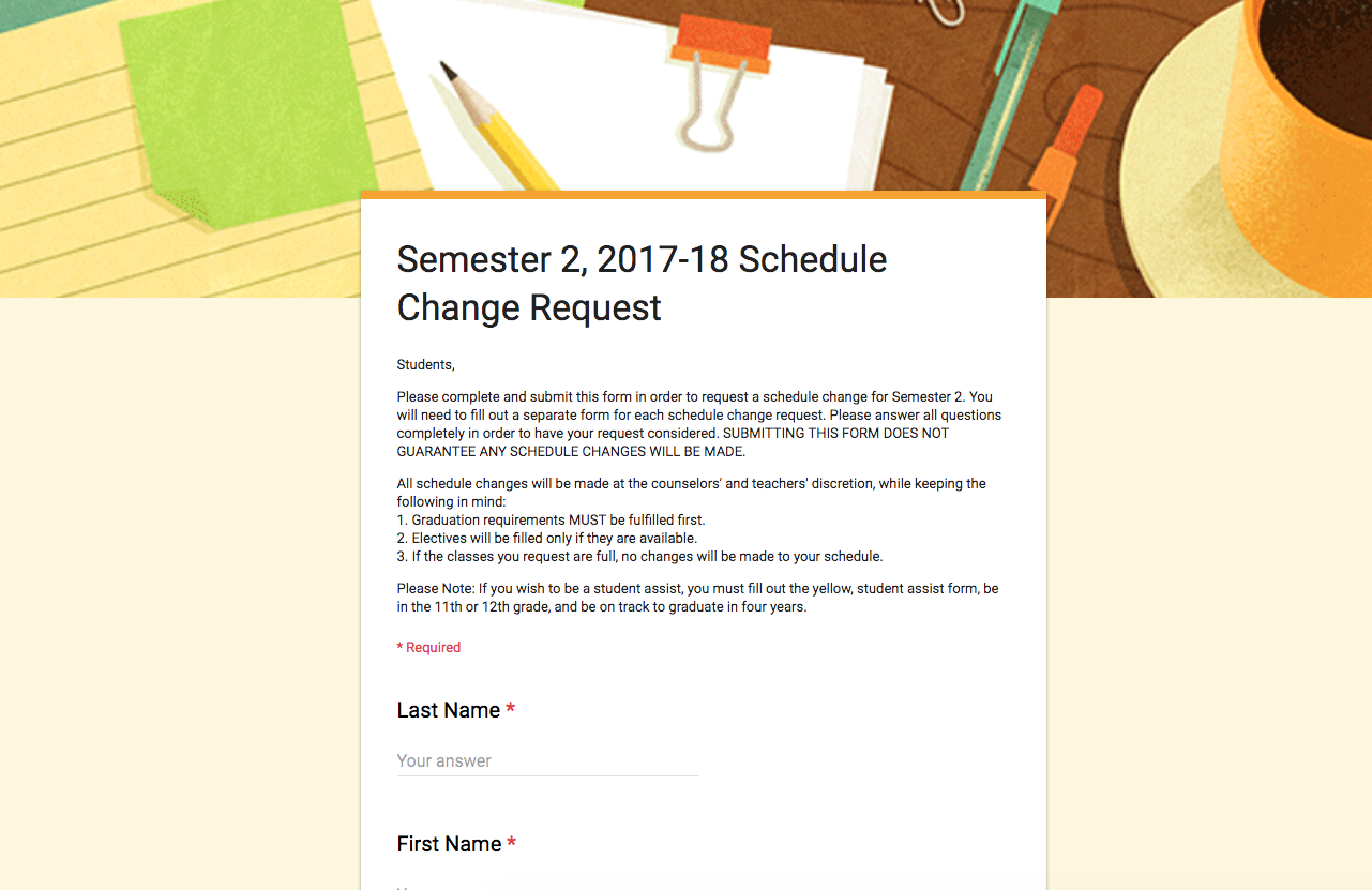 Semester Two Schedule Change Form