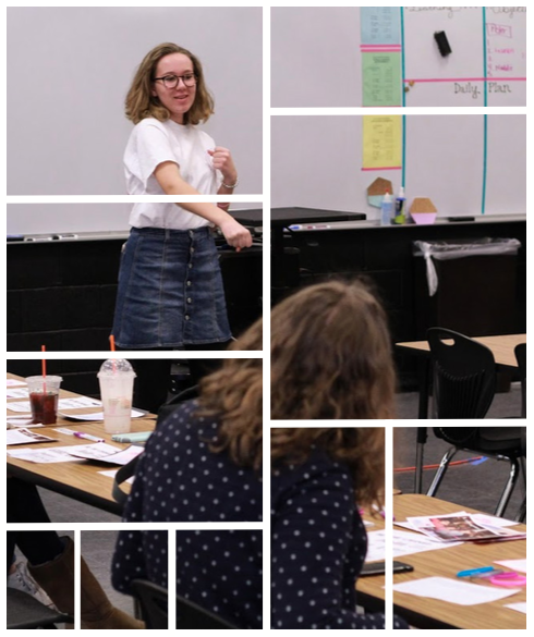 Sophia Olson (11) speaks to a group of girls at the Girl Up Advocacy Boot Camp at East High School on February 3, 2018. Photo courtesy of Sophia Olson.