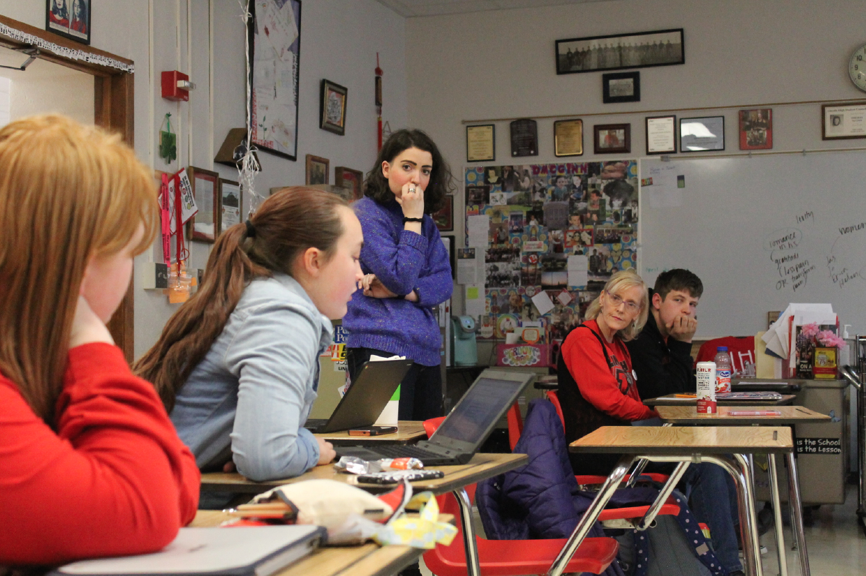 Members of the Slam Poetry team strategize after school on Wednesday, April 18, 2018 for their upcoming bout at the State competition for Louder Than A Bomb. Finals will be held April 24th, 7 p.m. at the Holland Center in Omaha at 1200 Douglas St. Photo by Gillian Kohl