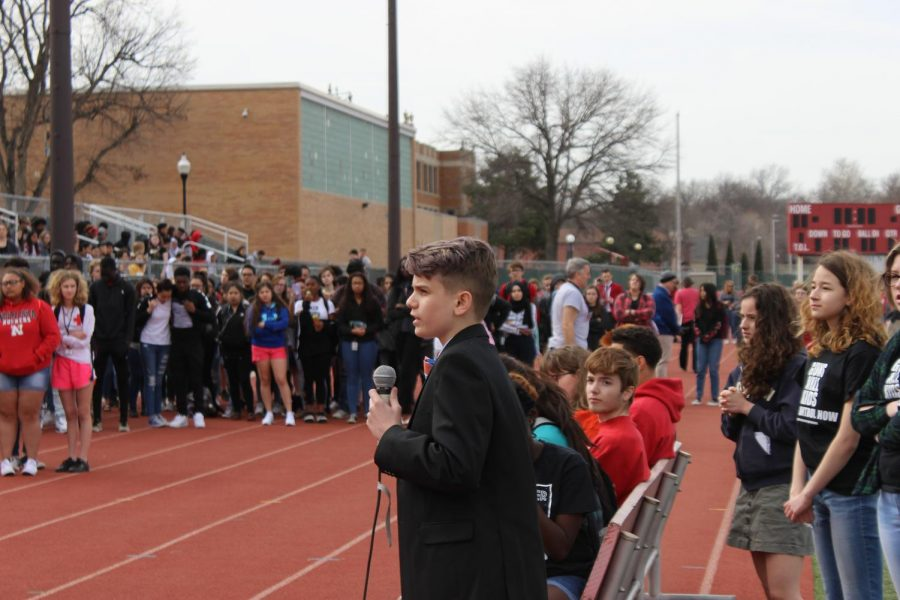 Kaiden Smith (9) speaks at the walkout on April 20th, 2018. Photo by Sara Balter
