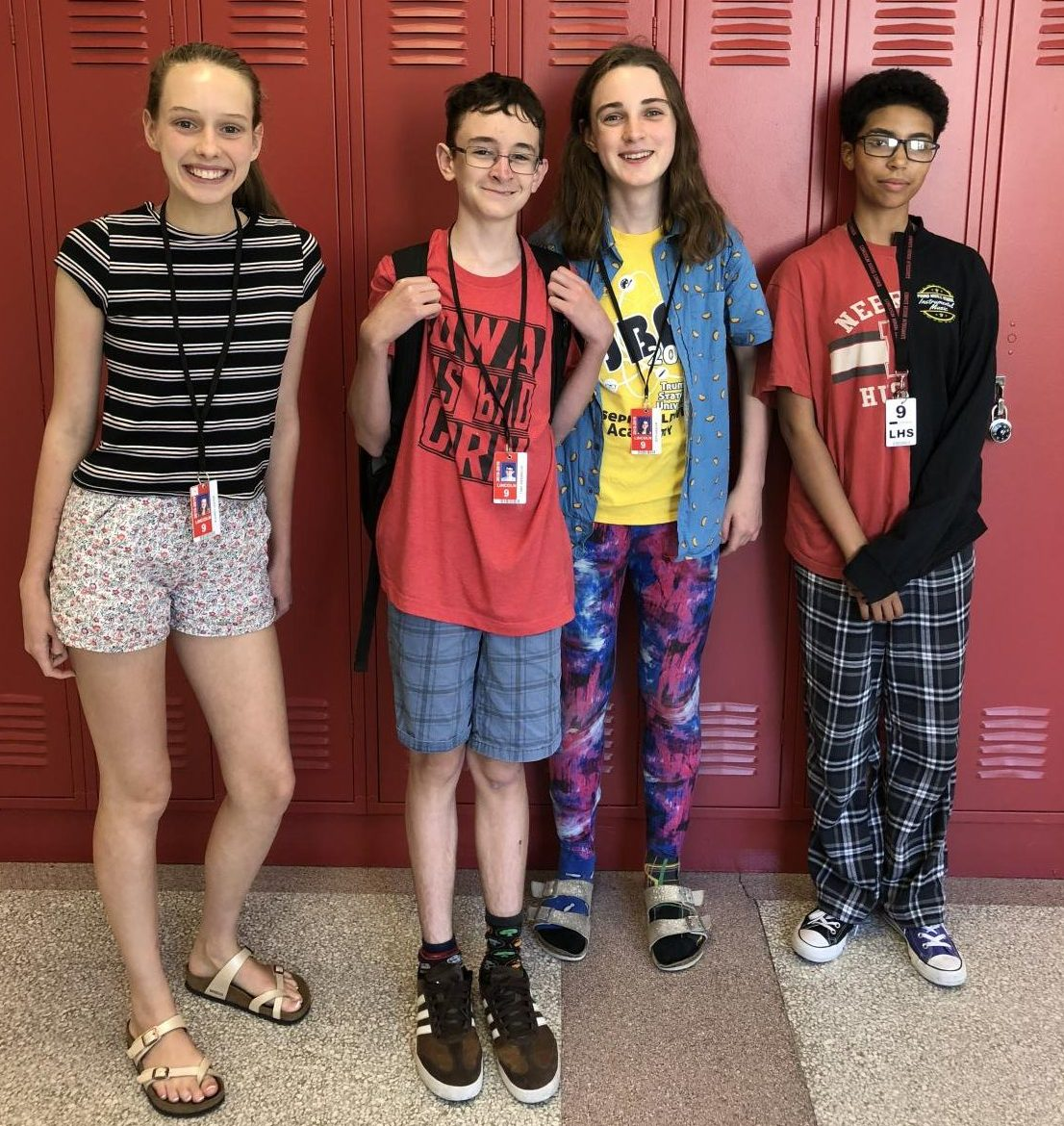 Students in Deborah McGinn's English class get mismatched for Monday of Spirit Week. Left to right: Audrey Lester, Toby Giesbrecht, Zeph Siebler, Dustin Stevison. Photo courtesy of Deborah McGinn