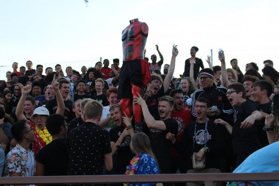 Humphry stands amid the chaotic excitement in the student section's response to Lincoln High's first touchdown on September 21, 2018 against Grand Island at Beechner Athletic Complex. Humphry has attended every one of the Links' football games this year.