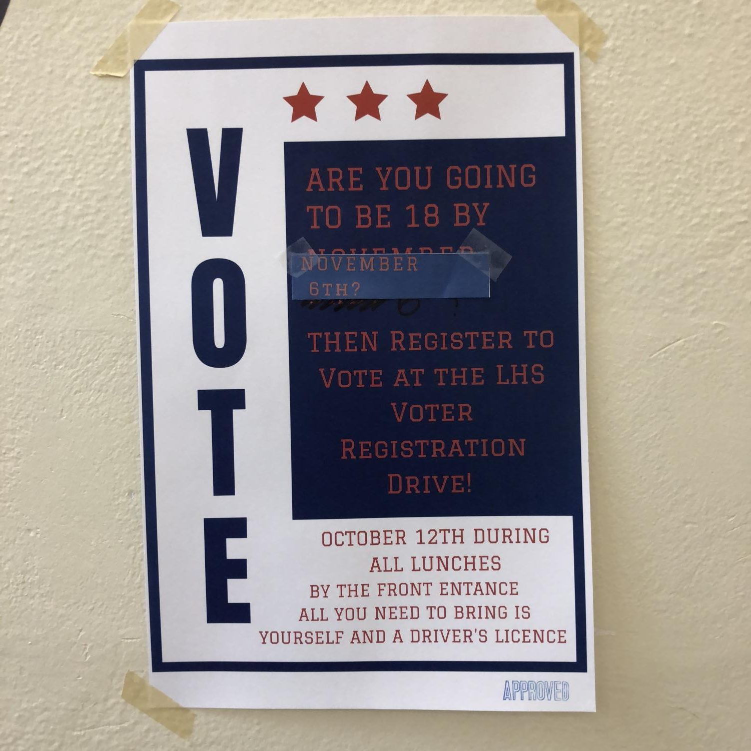 Lincoln High Young Democrats will host a voter registration drive this Friday, Oct. 12, 2018 during all lunches in the main entrance hallway on first floor.