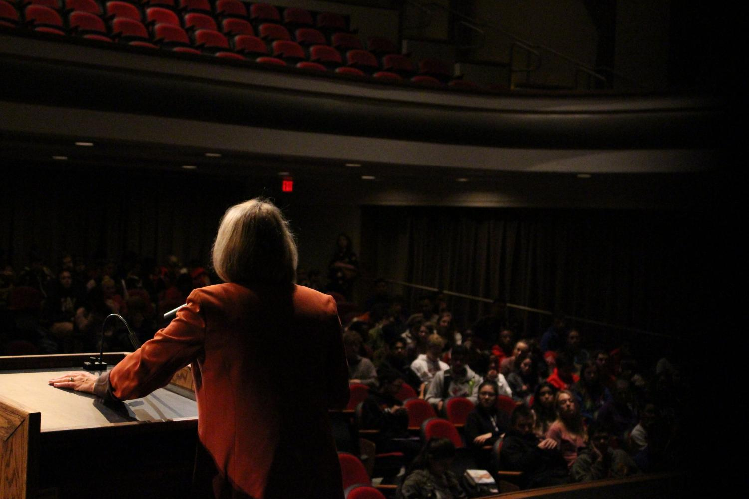 Democratic Nebraska Senate candidate Jane Raybould speaks about her initiatives and ideas to third period social studies classes at Lincoln High School in the Ted Sorensen Theatre on Tuesday, Oct. 30, 2018. Raybould will face Republican Deb Fischer in the General Election next week. Photo by Angel Tran