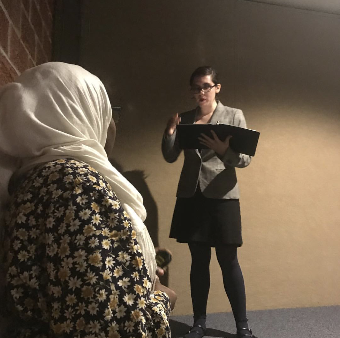 Alex Rotert (10) and Meissa Hassan (10) practice for a speech tournament. Photo courtesy of Lincoln High Speech Team Instagram
