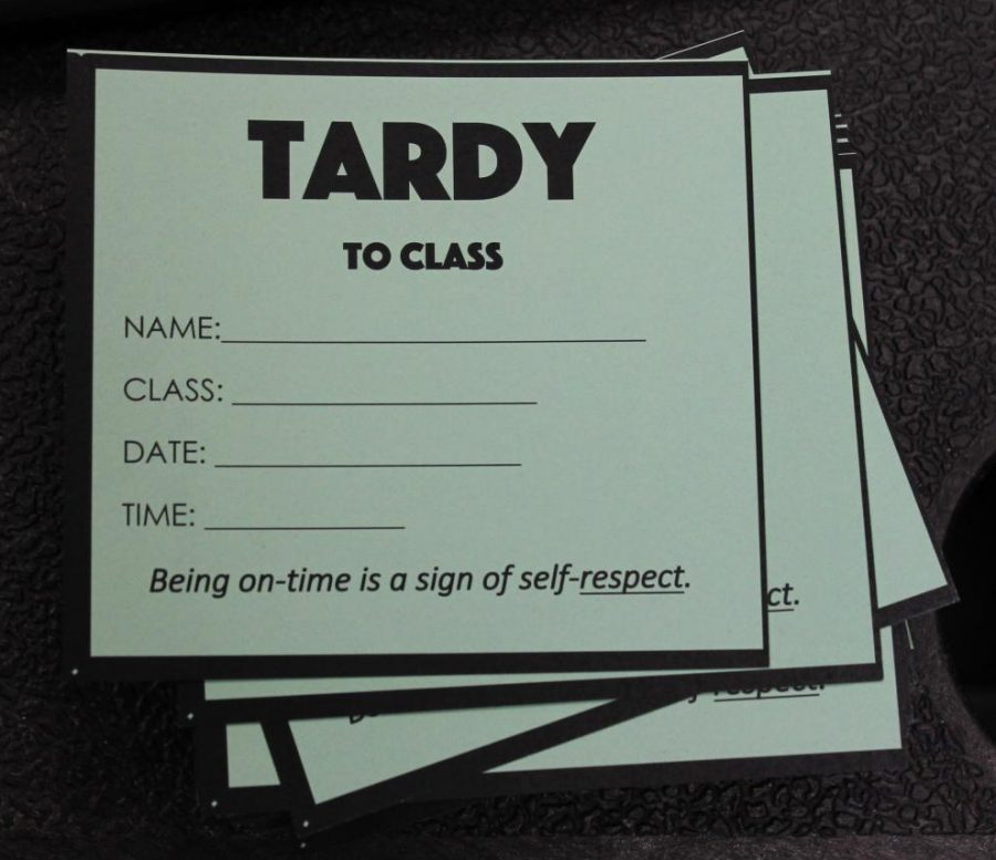 If you are late to your class, go to room 130 or the south entrance to receive a tardy slip. A faculty member will fill it out, and then you will give it to your teacher. Photo by Zeke Williams
