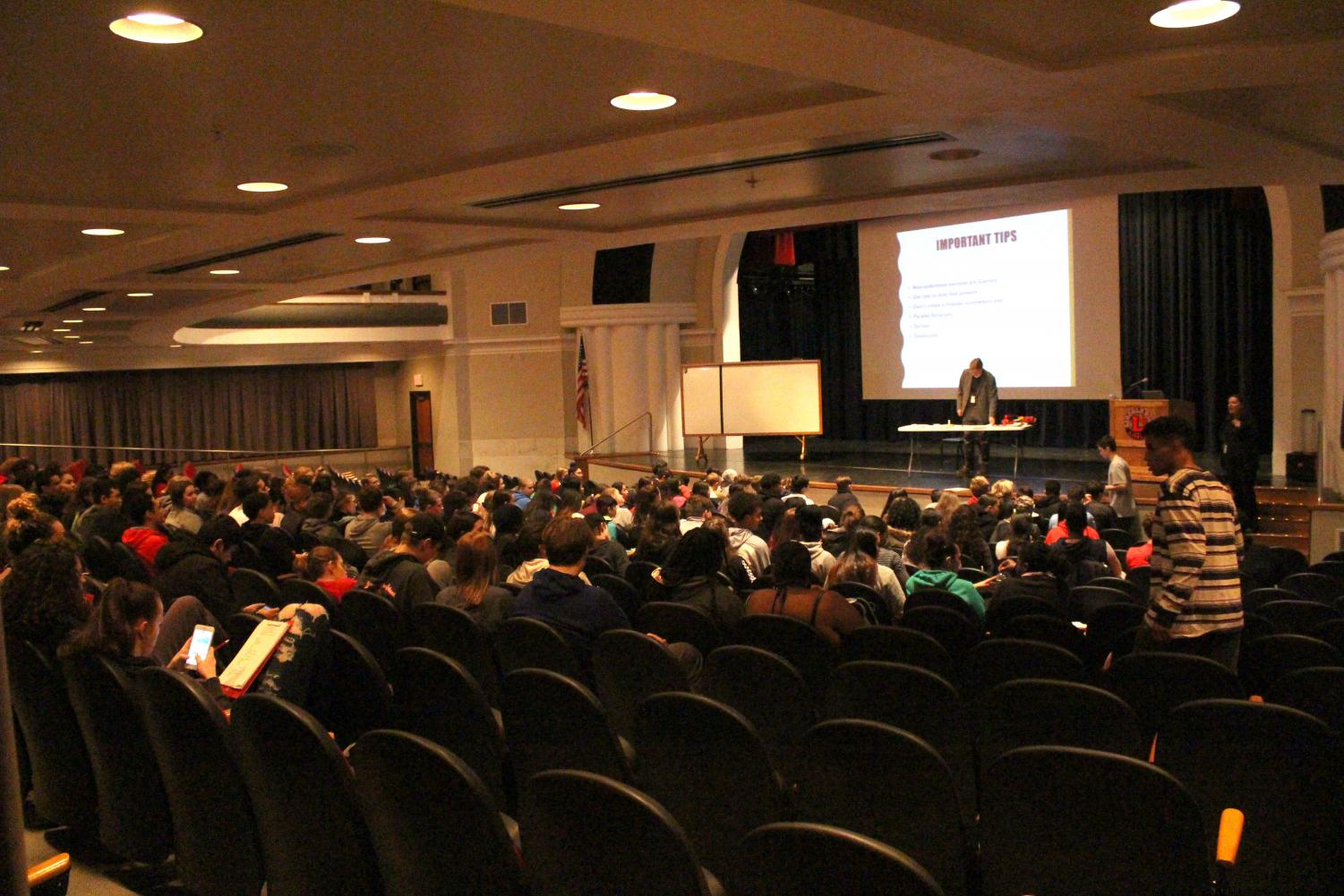 Students attend an ACT prep class, hosted by Educational Talent Search, a program funded by the University of Nebraska Lincoln in the Ted Sorensen Theatre, on March 19th, 2019. Juniors will take the ACT on April 2nd, 2019. Photo by Zeke Williams