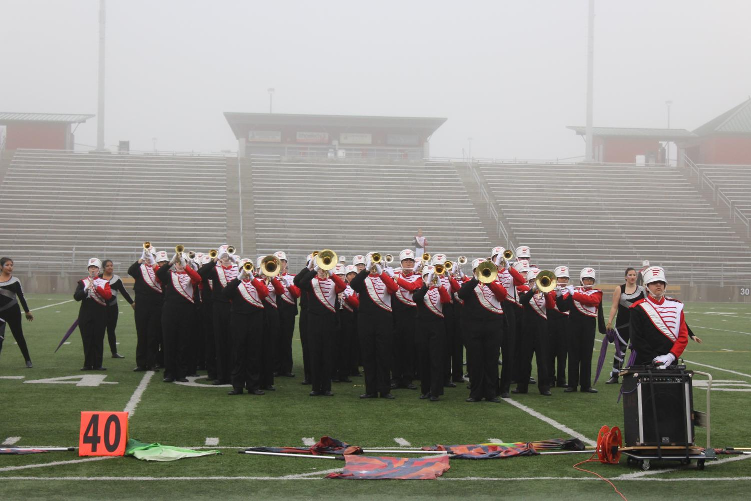 LHS Band Participates in a contest on October 14, 2017. All LHS students involved in a music program such as band, orchestra, or show choir are eligible to go on the 2019 trip. Photo by The Advocate.
