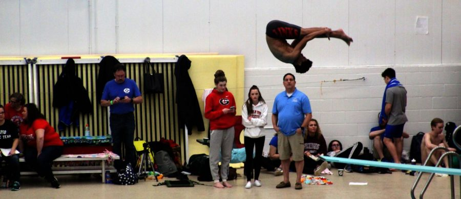 Isaiah Winston (11) Warms up at State Diving while fellow divers Harper Lawson (11) and Rylee Schneider (11) watch from the deck on February 21st, 2019. Winston received third place at State. Photo by Zeke Williams