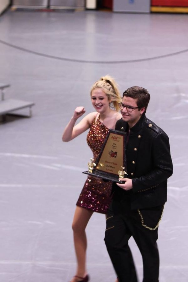 Seniors+Madelyn+Brandt+and+Anthony+Torres+celebrate+their+second+place+win+at+the+Northeast+Community+College+Jazz+Festival+in+Norfolk%2C+Nebraska+on+March+26%2C+2019.++Photo+courtesy+of+Tammy+Wheat