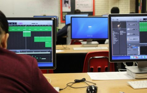 Students in Chris Watson's Fourth Period Music Tech class work on their projects despite the WiFi outage on March 4, 2019, because the projects were saved locally. Photo by Meg Boedeker