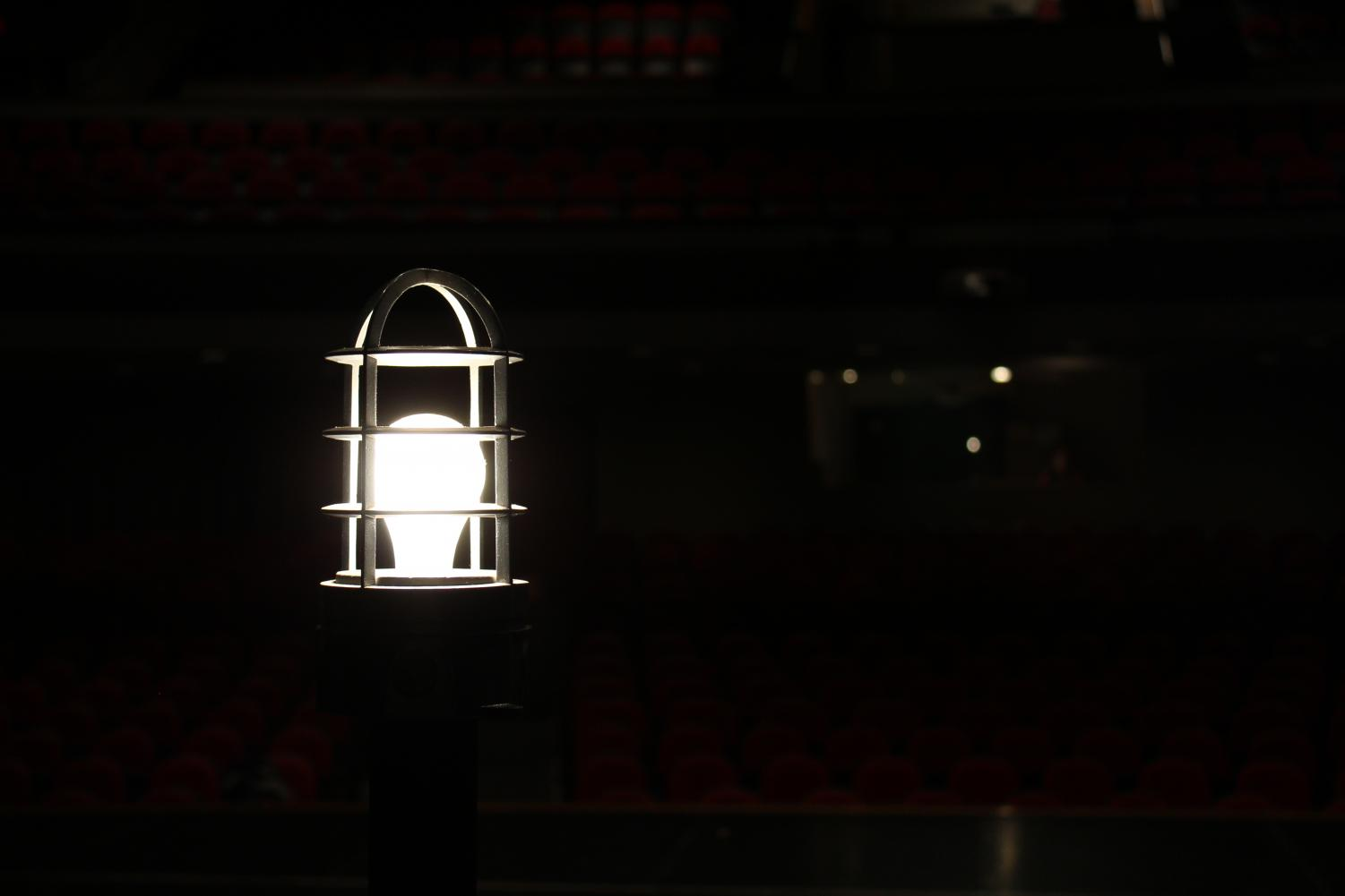 This light was turned on from 8 a.m. March 22nd until 8 a.m. March 23rd at Lincoln High's annual Theatre-A-Thon. This light symbolizes being on stage and in the theatre for 24 hours straight, which is the goal of Theatre-A-Thon. Photo by Emily Price