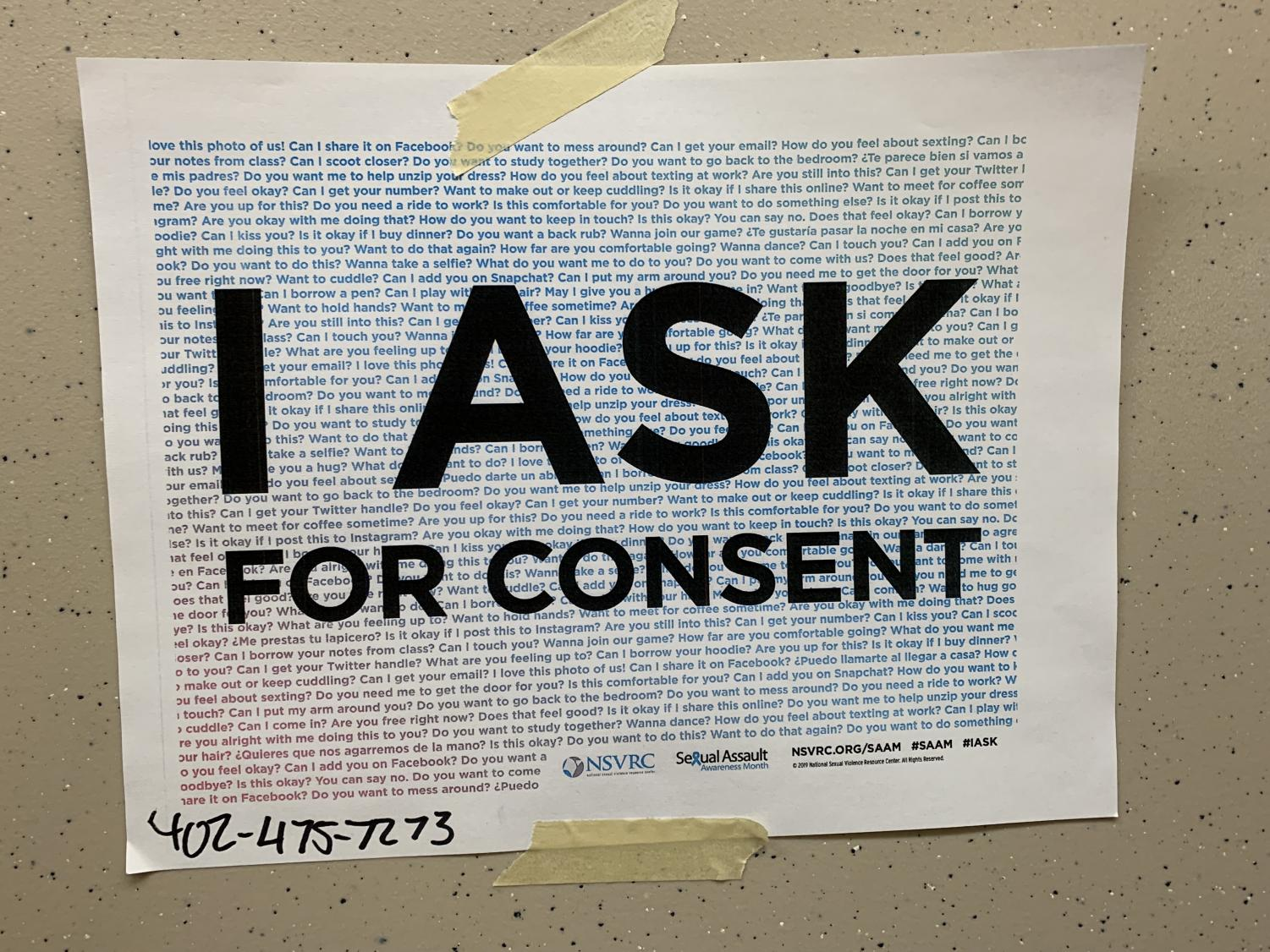 Signs like this are scattered around Lincoln High, emphasizing the importance of consent. The phone number at the bottom is to the Voices of Hope Crisis Hotline, which provides crisis intervention to victims of sexual assault and abuse.