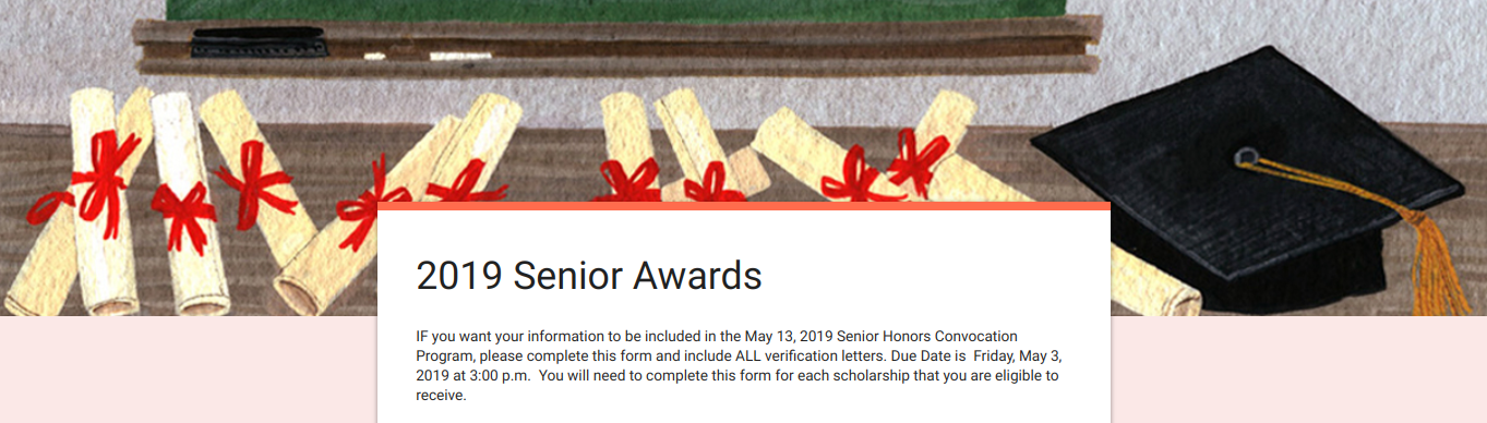A snapshot of the optional Google Form for seniors to fill out for the Senior Awards Assembly.