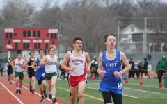 Senior Thor Larson runs the 1600M on Thursday, March 28th, 2019 at the Lincoln  Southwest open JV track meet at Beechner Athletic Complex.  Photo by Angel Tran