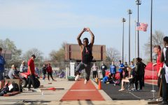 Senior Passmore Mudundulu triple jumps at the annual Harold C. Scott Varsity Track and Field Invitational at Beechner Athletic Complex on Wednesday, April 17th, 2019.  Mudundulu won the triple and long jump.   Photo by Angel Tran