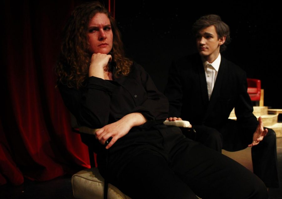 Meg Arenz (12) pouts as Hamlet while Carl Schack (11) as King Claudius tries to figure out the root of her problems. Tickets for the show are $5 and are available from any cast member, as well as at the door. Photo by Zeke Williams