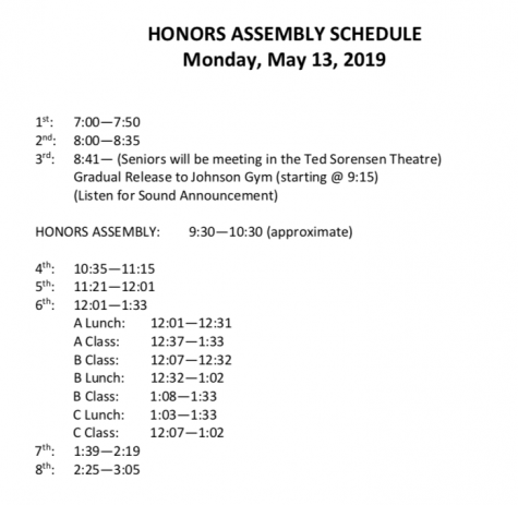 Senior Honors Convocation Bell Schedule