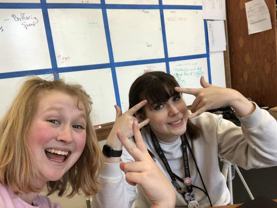 Syann Engelhard (LSE, 12) stopped the Advocate newsroom for a one-on-one interview with Emily Price (12) for this story. The two have been friends since fifth grade. Photo by Emily Price