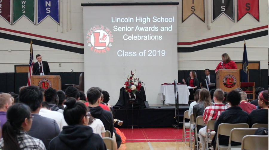 Principal Mark Larson introduces the Senior Awards and Celebrations assembly on May 13th, 2019. The ceremony included department awards, academic honors, and had a powerpoint of all the seniors with college and scholarship information, if they provided it. Photo by Advocate Staff