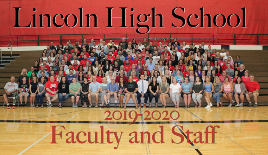 The+Lincoln+High+School+2019-2020+Faculty+and+Staff+pose+for+a+group+photo+the+week+before+the+new+school+year.+LHS+welcomes+new+and+returning+staff+to+the+building+this+year.+Photo+by+Greg+Keller