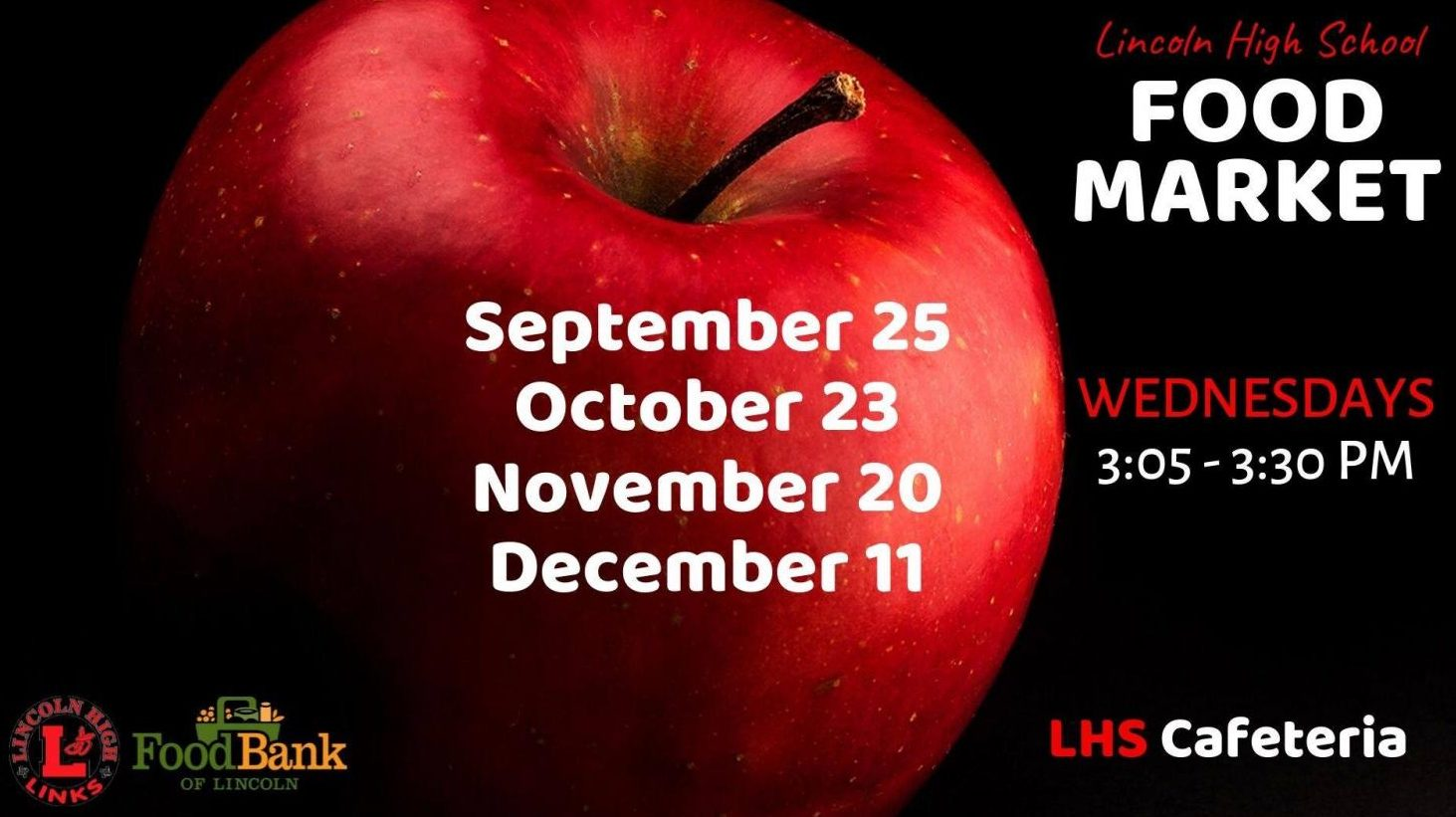 Lincoln Food Bank has released 4 dates this semester for the LHS Food Market. On these days any student, parent, or staff member can visit the market from 3:05-3:30. Photo courtesy of the LHS Food Market Facebook.