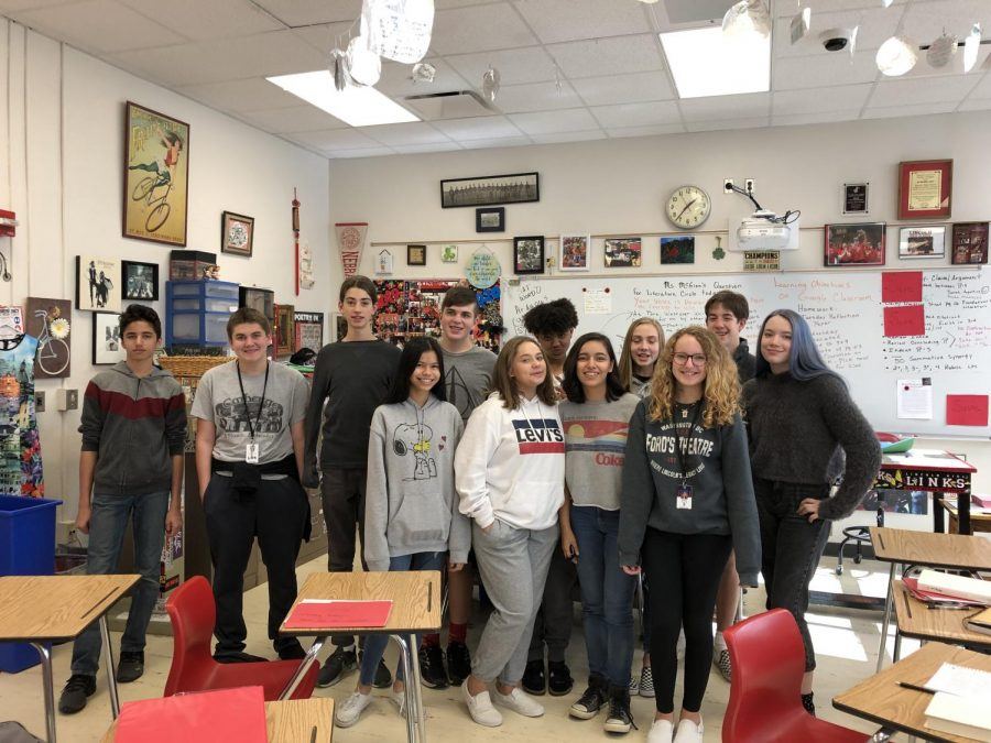 Ms.+McGinn%27s+period+6+PIB+English+class+poses+for+a+picture+dressed+up+in+Groutfits+%28Grey+Outfits%29+on+Monday%2C+October+7%2C+2019.+