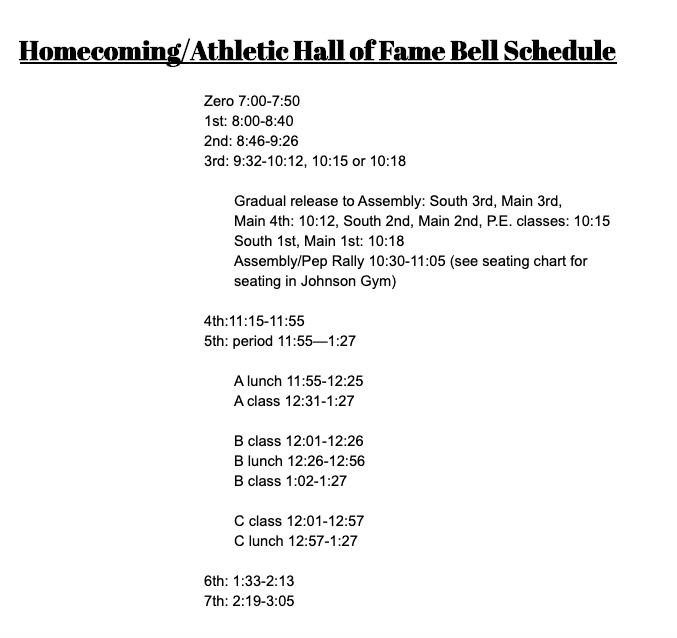 Homecoming/Athletic Hall of Fame Bell Schedule