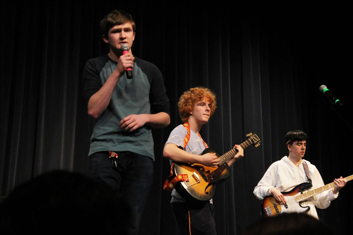 Members of Smells Like Bold perform for Bands Against Bullying on January 25, 2020 in the Ted Sorensen Theatre. Members from left to right: Ethan Rask (11), Emerson Borakove (11), and Zach Paegler (11). Photo by Nevaeh Alonzo
