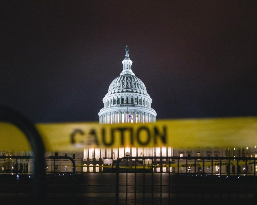 Caution tape in front of the US Capitol