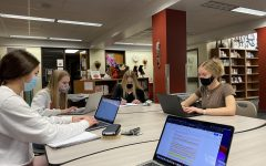 Students work on assignments in Media Center.
